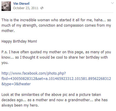 Vin Diesel Facebook Post